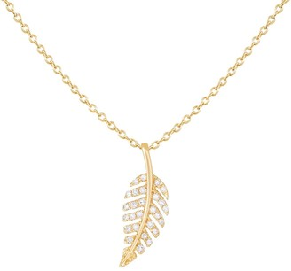Saks Fifth Avenue 14K Yellow Gold Diamond Leaf Pendant Necklace