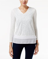 Alfani Petite Layered-Look V-Neck Top, Only at Macy's