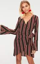 PrettyLittleThing Khaki Striped Wrap Detail Long Fluted Sleeve Bodycon Dress