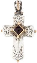 Konstantino Two-Tone Garnet Cross Pendant