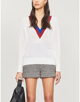 Sandro Shena striped wool and cashmere-blend jumper