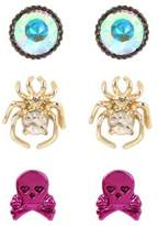 Betsey Johnson Three-Piece Crystal Halloween Stud Earrings Set