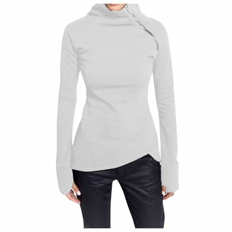 Beetlenew Womens Cothing Women Blouse with Thumb Holes Zip Turtleneck Tops Plus Size Slim Asymmetrical Hem Tunic Sweatshirt Chic Solid Long Sleeve Irregular Casual Pullover T-Shirt Jumper Sports Tees Base Layers Wine