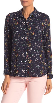 Pleione Covered Button Front Long Sleeve Blouse
