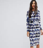 ASOS Tall ASOS TALL Midi Dress With Elastic Waist Detail In Ink Splash Print