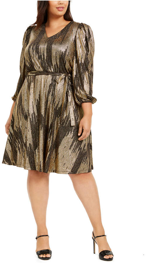 Calvin Klein Plus Size Belted Metallic Midi Dress