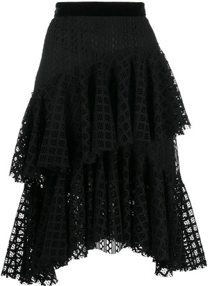 Philosophy di Lorenzo Serafini tiered lace midi skirt