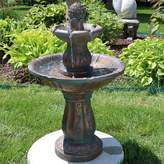 SunnyDaze Decor Fiberglass 2-Tier Patina Pineapple Garden Water Fountain