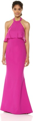 JS Boutique Women's Halter Neck Crepe with Chiffon POP Over and Back Cascade