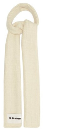 Jil Sander Logo-patch Wool-blend Scarf - Beige