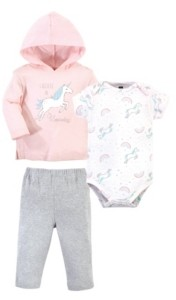 Hudson Baby Baby Girls Glitter Unicorn Hoodie, Bodysuit or Tee Top and Pant Set, Pack of 3