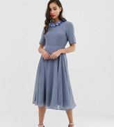 Asos Tall DESIGN Tall crop top embellished neckline midi dress