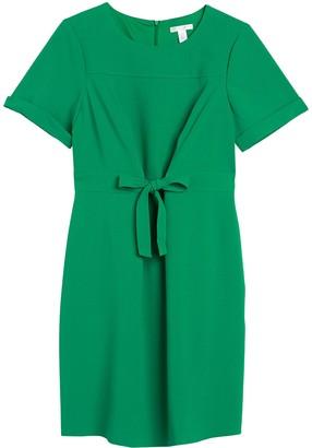 London Times Tie Front Short Sleeve Shift Dress (Plus Size)