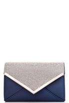 Quiz Navy Diamante Detail Clutch Bag