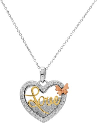 "Hallmark Tri Tone Gold Over Silver ""Love"" Heart Shaker Pendant Necklace"