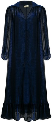 Fendi Velvet-Effect Flared Midi Dress