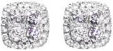 14K White Gold Round Diamond Illusion Earrings Studs Mens Ladies