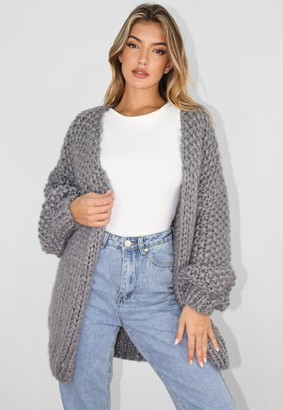 Missguided Tall Grey Hand Knit Cardigan