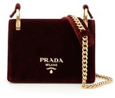 Prada Men's Burgundy Velvet Shoulder Bag.