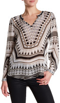 Hale Bob Long Sleeve V-Neck Embellished Bead Trim Print Tunic