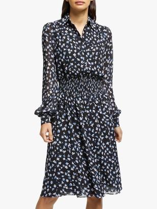Michael Kors MICHAEL Tossed Lilies Flared Dress, Black/Multi