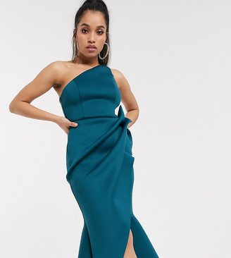 ASOS DESIGN Petite one shoulder tucked peplum pencil midi dress in teal