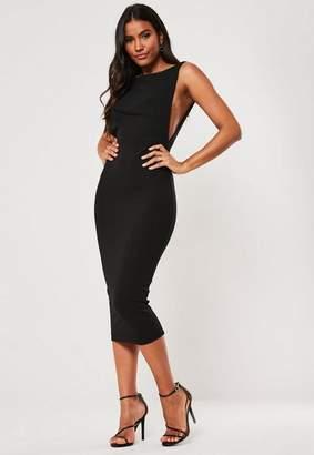 Missguided Black Sleeveless Low Back Midi Dress