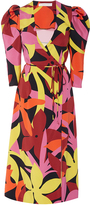 Naeem Khan Floral Midi Wrap Dress