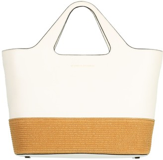 Brunello Cucinelli Leather and Raffia Zip Top Shopper Tote