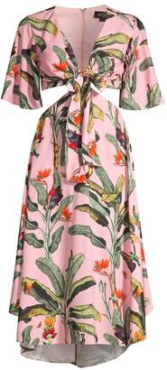 PatBO Tropical Print Cutout Dress