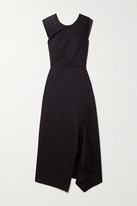 Roland Mouret Asymmetric Lace-trimmed Pinstriped Wool-blend Midi Dress