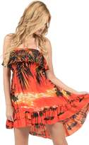 Ingear Short Palm Tree Bandeau Ruffle Frills Casual Rayon Dress Cover Up