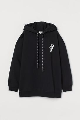 H&M Cotton-blend Hoodie - Black