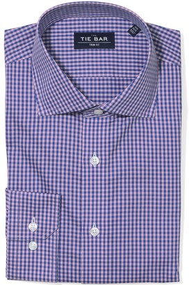 The Tie Bar Two Tone Gingham Pink Non-Iron Shirt