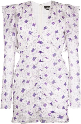 Isabel Marant Floral-Print Ruched Crepeon Mini Dress