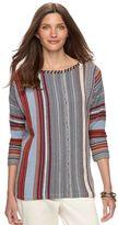 Chaps Women's Striped Knit Boatneck Sweater