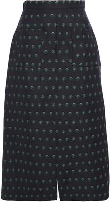 ALEXACHUNG Wool-blend Floral-jacquard Midi Skirt