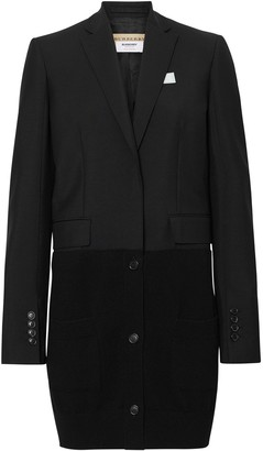 Burberry Cashmere Panel Wool Mohair Tailored Jacket