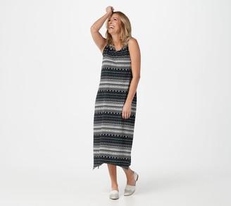 Denim & Co. Regular Printed Jersey V-Neck Dress w/ Trapeze Hem