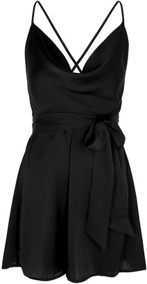 Free People Good Company Black Satin Mini Dress
