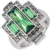 Cristalina Gatsby Swarovski Crysolite Green Art Deco Style Statement Ring with Antique Finish - Size R