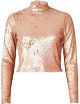 River Island Womens Blush pink sequin turtleneck crop top