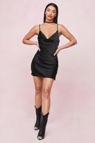 Thumbnail for your product : Nasty Gal Womens Choker Cowl Neck Satin Slip Mini Dress - Black - 8