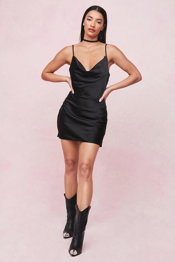 Nasty Gal Womens Choker Cowl Neck Satin Slip Mini Dress - Black - 4