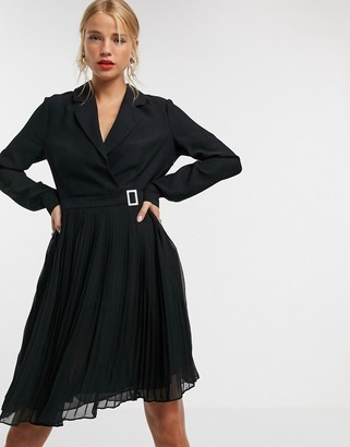 Morgan belted blazer dress with pleated skater skirt in black