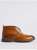 M&S Collection Big & Tall Leather Brogue Chukka Boots