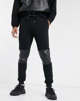 Asos Design DESIGN co-ord super skinny joggers with mock croc PU panels in black