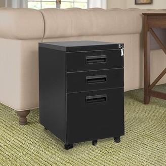 Inbox Zero Metal 3-Drawer Mobile Vertical Filing Cabinet Color: Black