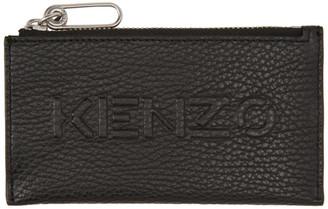 Kenzo Black Zip Imprint Card Holder