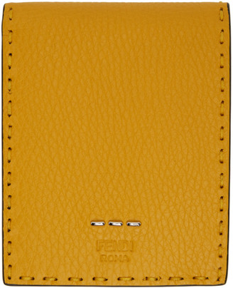 Fendi Yellow Coin Pocket Selleria Bifold Wallet
